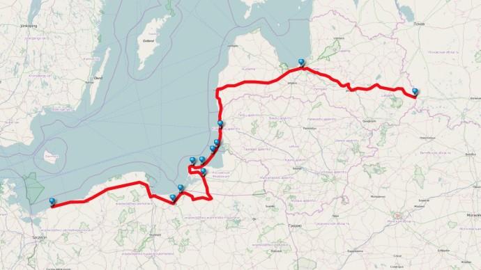 Karte Lettland bis Polen